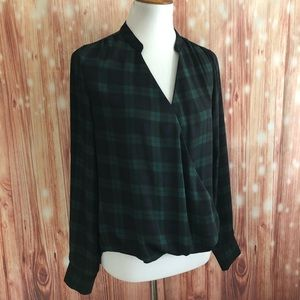 The Limited Green Plaid Faux Wrap Blouse